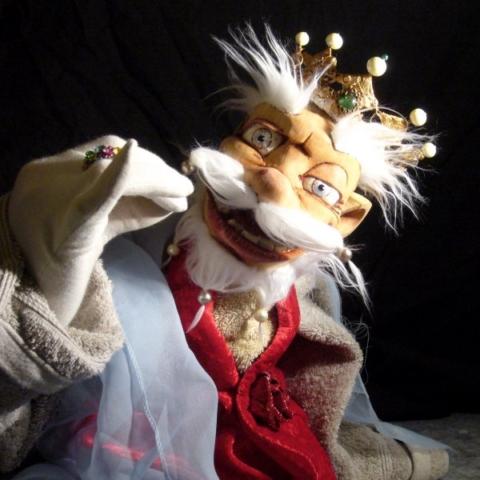 Marionnette en bois, tilleul, roi