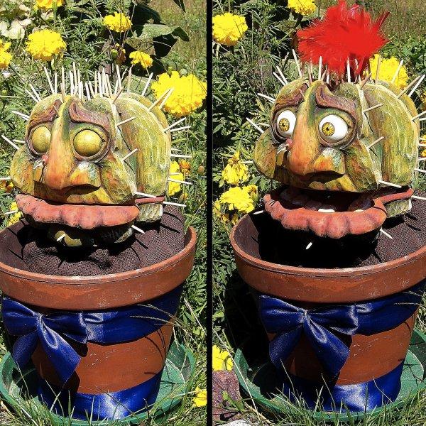 Marionnette en bois, cactus, puppet