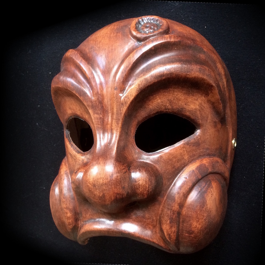 Arlecchino, Arlequin, mask commedia dell arte leather cuir