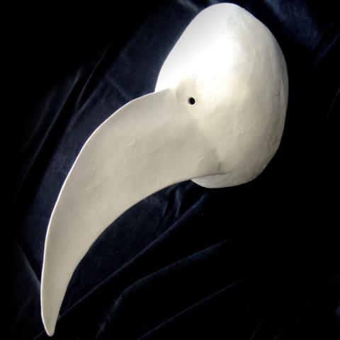 Masque larvaire, larval mask, Larvenmaske, Baslermaske, with long nose like a bird.