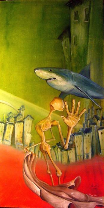 Peinture à l'huile, surréalisme, shark