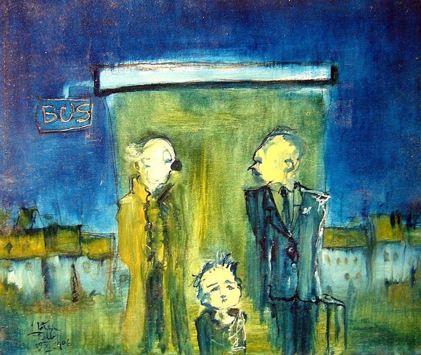 Peinture à l'huile, illustration blue