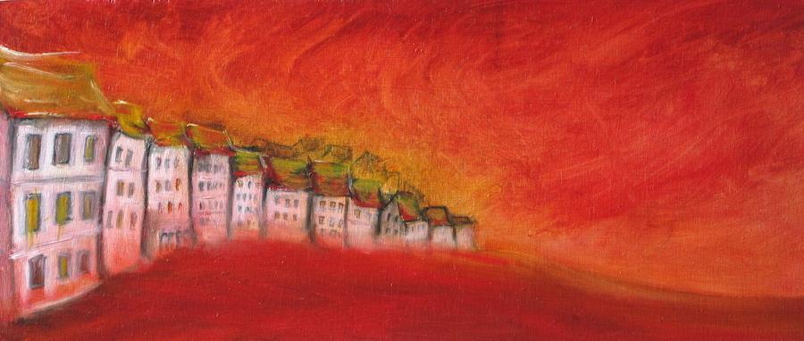 Peinture à l'huile, ville déserte
