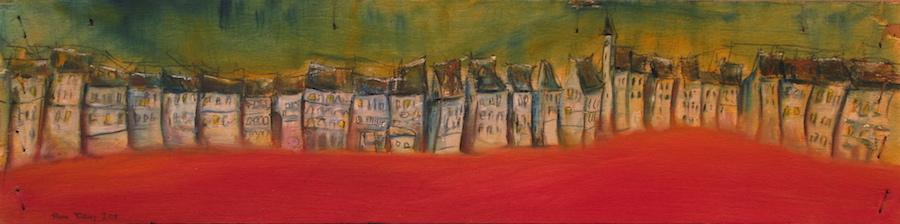 Peinture à l'huile, alignement de maisons