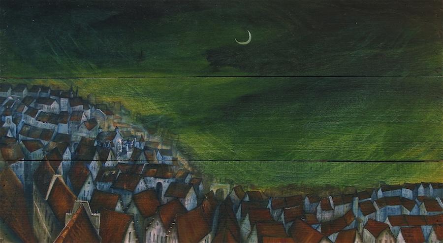 Peinture à l'huile, ville la nuit sous la lune.