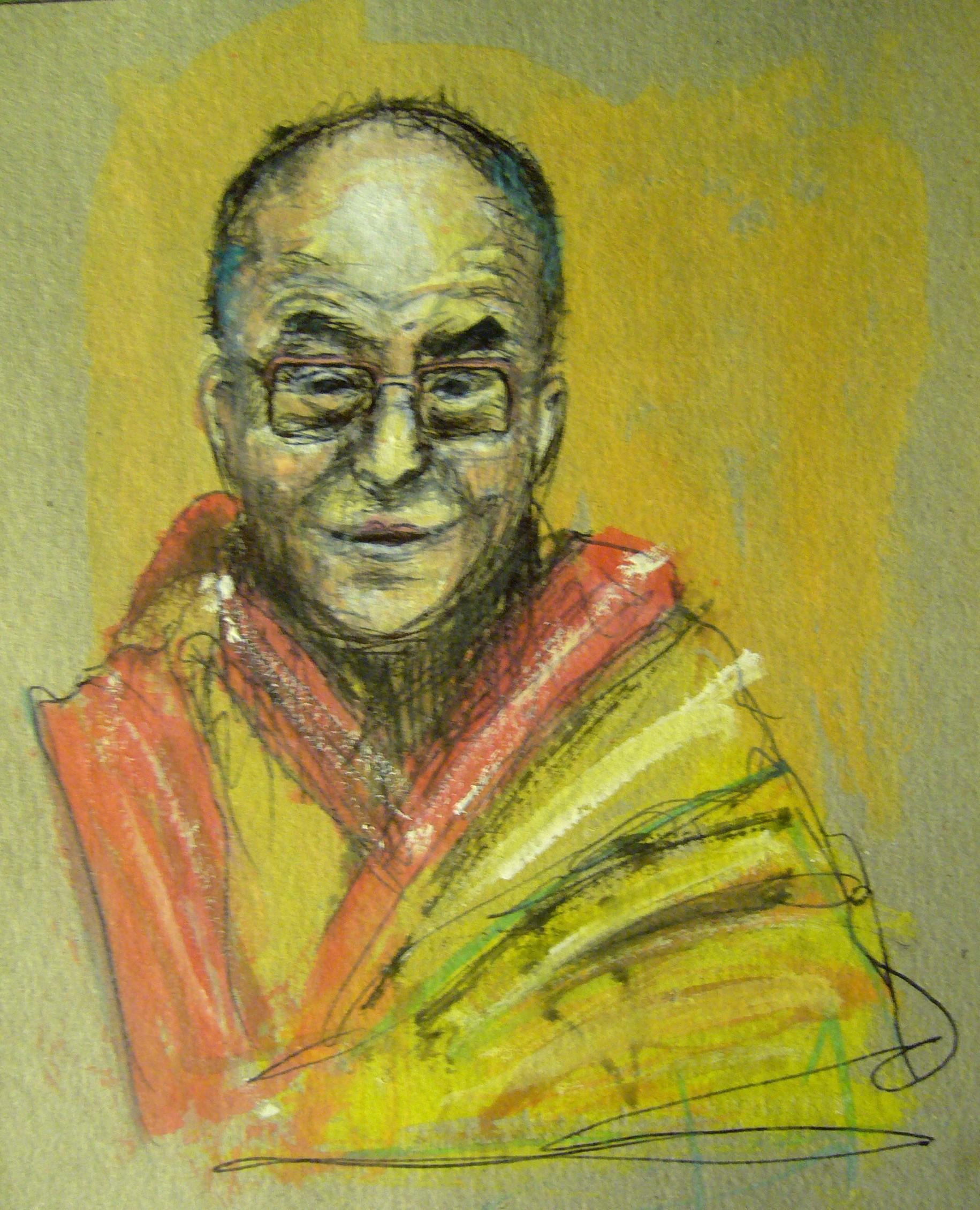 Peinture, acrylic, Dalaï Lama
