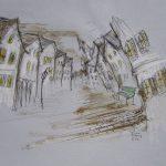 Peinture, acrylic, ville