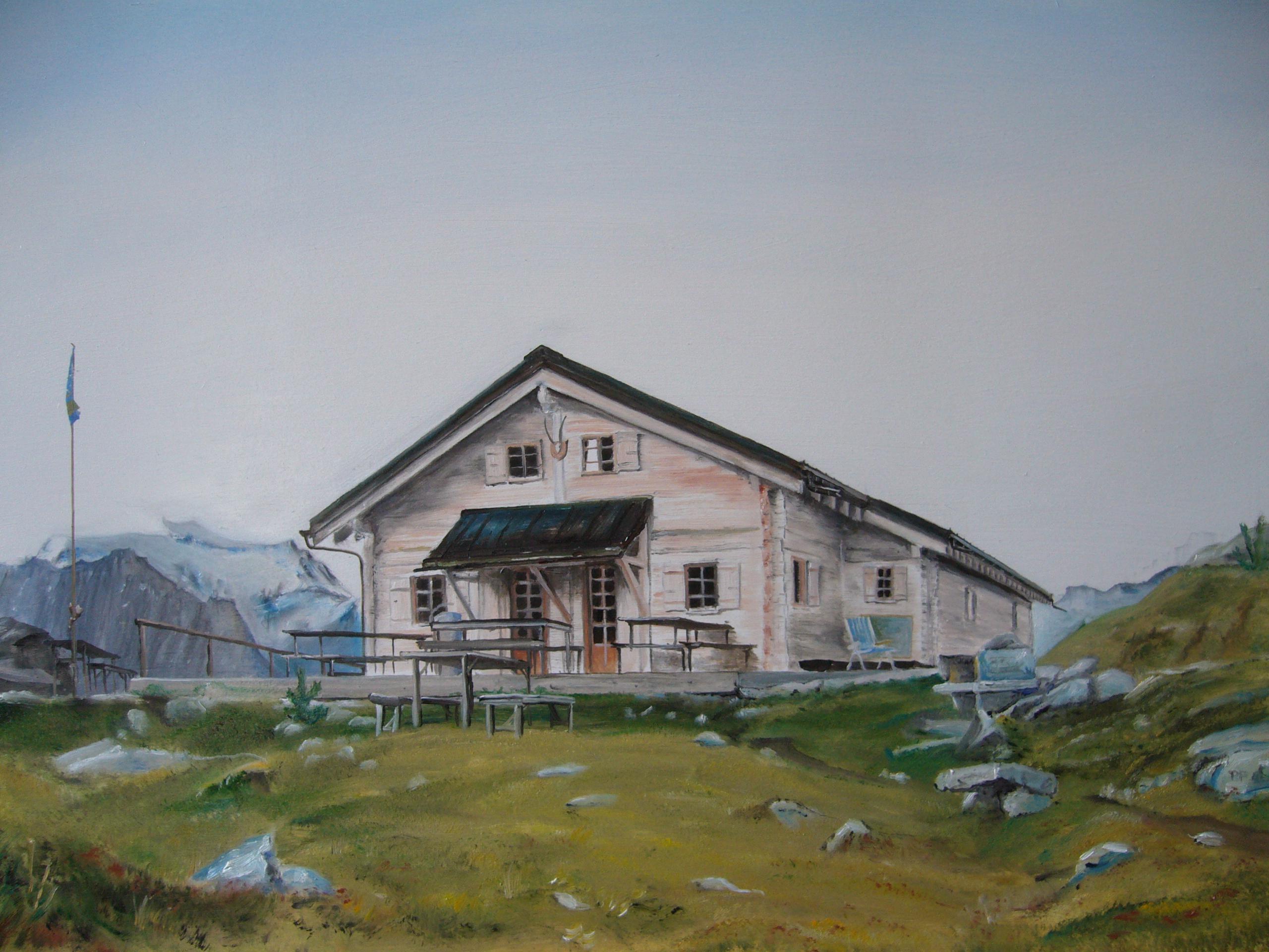 Peinture à l'huile, nature, Louvie, haut val de bagnes, suisse
